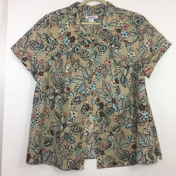 e5213c328cb Roamans Floral Button Up Blouse 24w